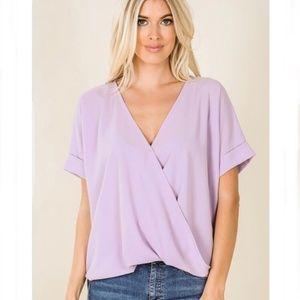 Lavender Layered Asymmetrical Chiffon Top